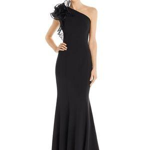 Aidan Maddox Black Formal One Shoulder Dress